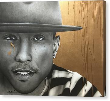 Pharrell Williams - ' Pharrell In Gold ' Canvas Print