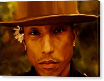 Pharrell Williams Happy Canvas Print by Brian Reaves