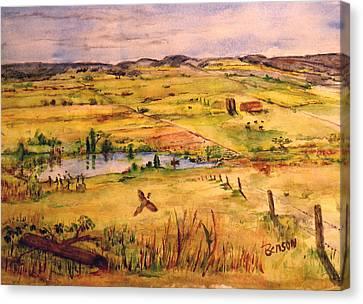 Pheasant In Flight Canvas Print by Blaine Benson
