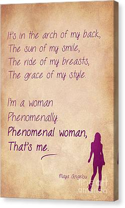 Phenomenal Woman Quotes 3 Canvas Print by Nishanth Gopinathan