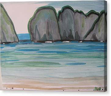 Canvas Print featuring the painting Phi Phi Island by Vikram Singh