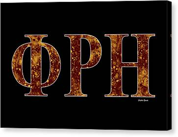 Canvas Print featuring the digital art Phi Rho Eta - Black by Stephen Younts