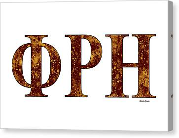 Canvas Print featuring the digital art Phi Rho Eta - White by Stephen Younts
