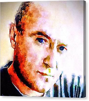 Phil Collins Digital Watercolor Portrait 2 Canvas Print