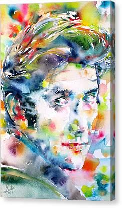 Phil Ochs - Watercolor Portrait Canvas Print by Fabrizio Cassetta