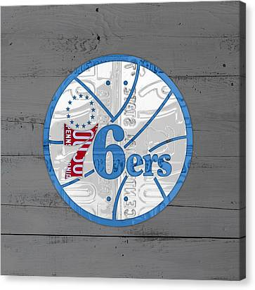Philadelphia 76ers Basketball Team Retro Logo Vintage Recycled Pennsylvania License Plate Art Canvas Print by Design Turnpike