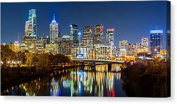 Canvas Print featuring the photograph Philadelphia Cityscape Panorama By Night by Mihai Andritoiu