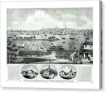 Philadelphia History Canvas Print - Philadelphia In The Olden Time - 1875 by Pablo Romero