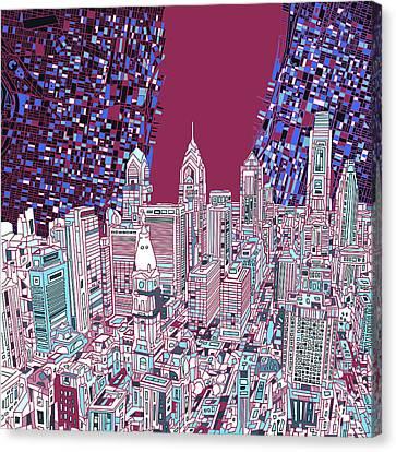 Philadelphia Map Panorama 2 Canvas Print