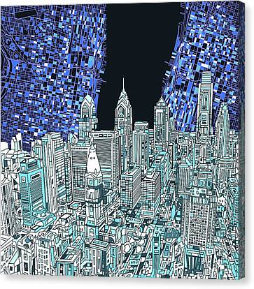 Philadelphia Map Panorama Canvas Print