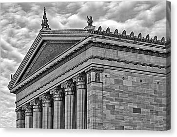 Ben Franklin Canvas Print - Philadelphia Museum Of Art Column Details Bw by Susan Candelario