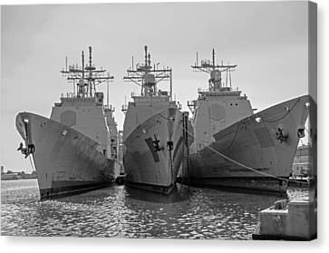Philadelphia Navy Yard B - W  Canvas Print by Susan  McMenamin