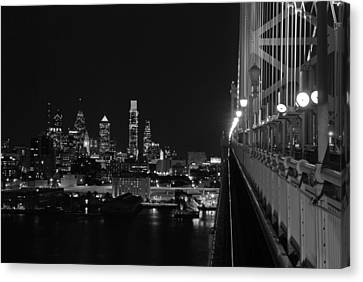 Philadelphia Night B/w Canvas Print by Jennifer Ancker