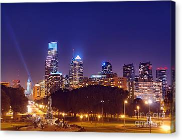 Philadelphia Nightscape Canvas Print by Olivier Le Queinec