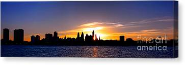 Philadelphia Panoramic Sunset Canvas Print by Olivier Le Queinec