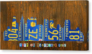Philadelphia Pennsylvania City Of Brotherly Love Skyline License Plate Art Canvas Print