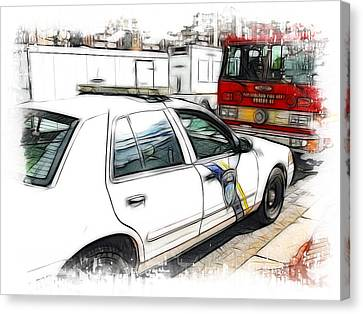 Philadelphia Police Car Canvas Print by Fiona Messenger