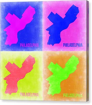 Philadelphia Pop Art Map 2 Canvas Print