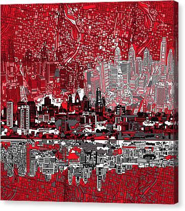 Philadelphia Skyline Abstract 4 Canvas Print by Bekim Art