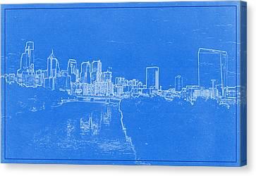 Lincoln Park Lagoon Canvas Print - Philadelphia Skyline Blueprint by Celestial Images