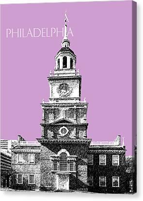 Philadelphia Skyline Independence Hall - Light Plum Canvas Print