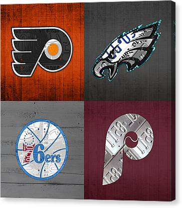 Philadelphia Sports Fan Recycled Vintage Pennsylvania License Plate Art Flyers Eagles 76ers Phillies Canvas Print by Design Turnpike