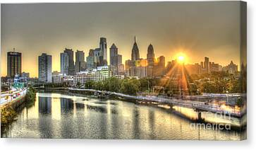 Philadelphia Sunrise Canvas Print by Mark Ayzenberg