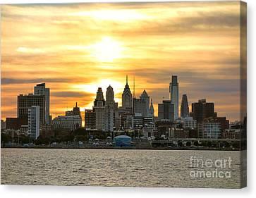 Philadelphia Sunset Canvas Print by Olivier Le Queinec