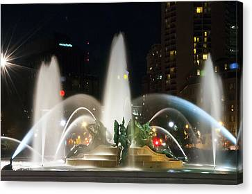Philadelphia - Swann Fountain - Night Canvas Print