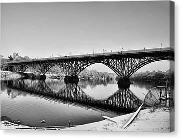 Philadelphia Winter - Strawberry Mansion Bridge Canvas Print by Bill Cannon