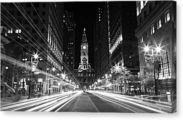 Philadephia City Hall -- Black And White Canvas Print by Stephen Stookey