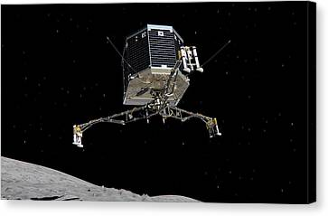 Canvas Print featuring the photograph Philae Lander Descending To Comet 67pc-g by Science Source