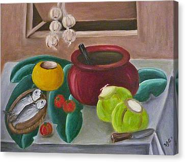 Philippine Still Life With Fish And Coconuts 2 Canvas Print by Victoria Lakes
