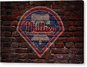Centerfield Canvas Print - Phillies Baseball Graffiti On Brick  by Movie Poster Prints