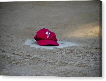 Phillies Hat On Home Plate Canvas Print by Bill Cannon