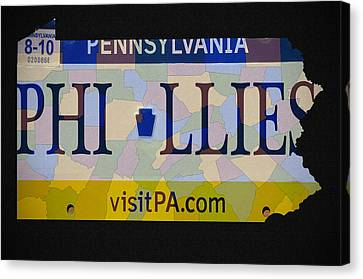 Phillies License Plate Map Canvas Print by Bill Cannon