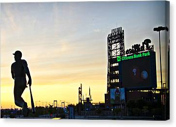Citizens Bank Park Canvas Print - Phillies Stadium At Dawn by Bill Cannon