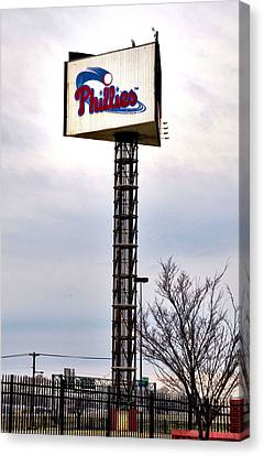 Citizens Bank Park Canvas Print - Phillies Stadium Sign by Bill Cannon