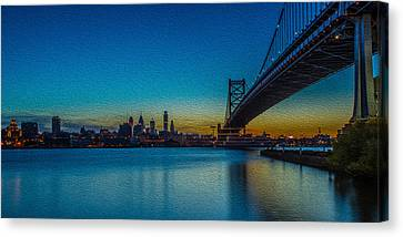 Philly And The Ben Franklin Bridge Canvas Print by David Hahn