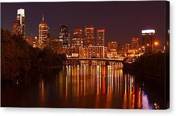 Philly Lights Reflected Canvas Print by Michael Porchik