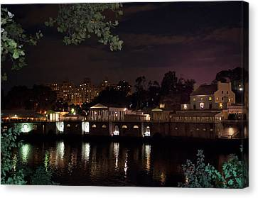 Philly Waterworks At Night Canvas Print by Bill Cannon