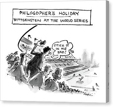 Philosopher's Holiday Wittgenstein At The World Canvas Print by Lee Lorenz