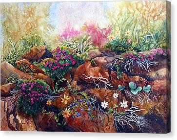 Phlox On The Rocks Canvas Print by Karen Mattson