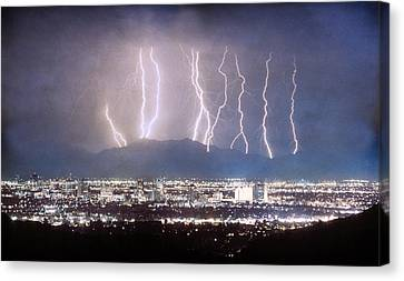 Phoenix Arizona City Lightning And Lights Canvas Print by James BO  Insogna