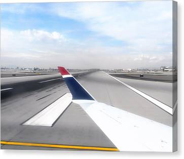 Airoplane Canvas Print - Phoenix Az Airport Wing Tip View by Thomas Woolworth