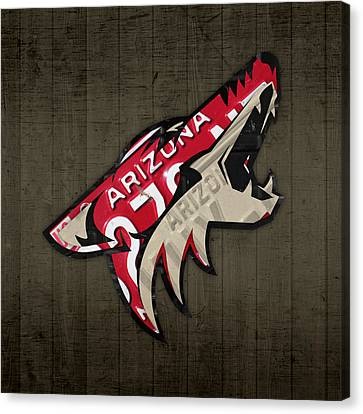Phoenix Coyotes Retro Hockey Team Logo Recycled Arizona License Plate Art Canvas Print by Design Turnpike