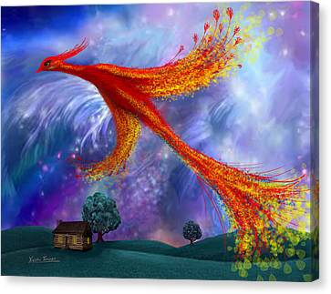 Phoenix Flying At Night Canvas Print