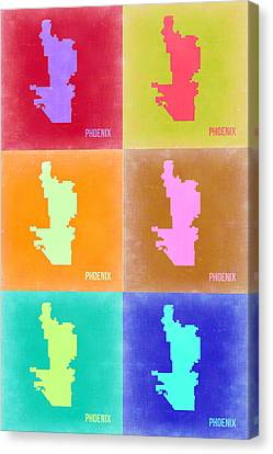 Phoenix Pop Art Map 3 Canvas Print by Naxart Studio