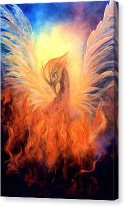 Canvas Print featuring the painting Phoenix Rising by Marina Petro