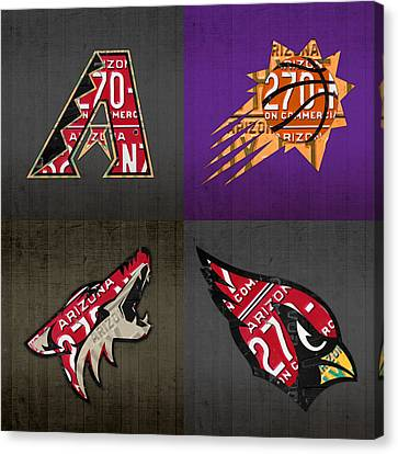 Phoenix Sports Fan Recycled Vintage Arizona License Plate Art Diamondbacks Suns Coyotes Cardinals Canvas Print